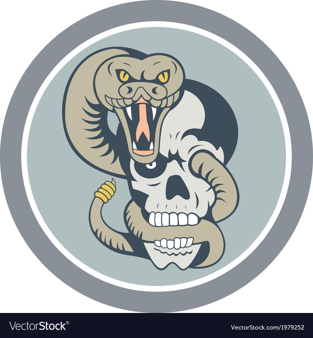 Rattle Snake Curling Around Skull Cartoon