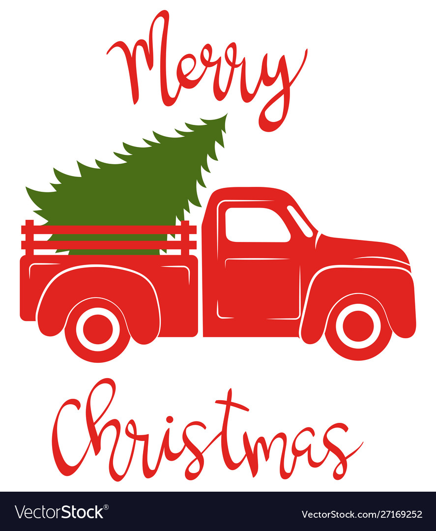 Red pickup with christmas tree traditional