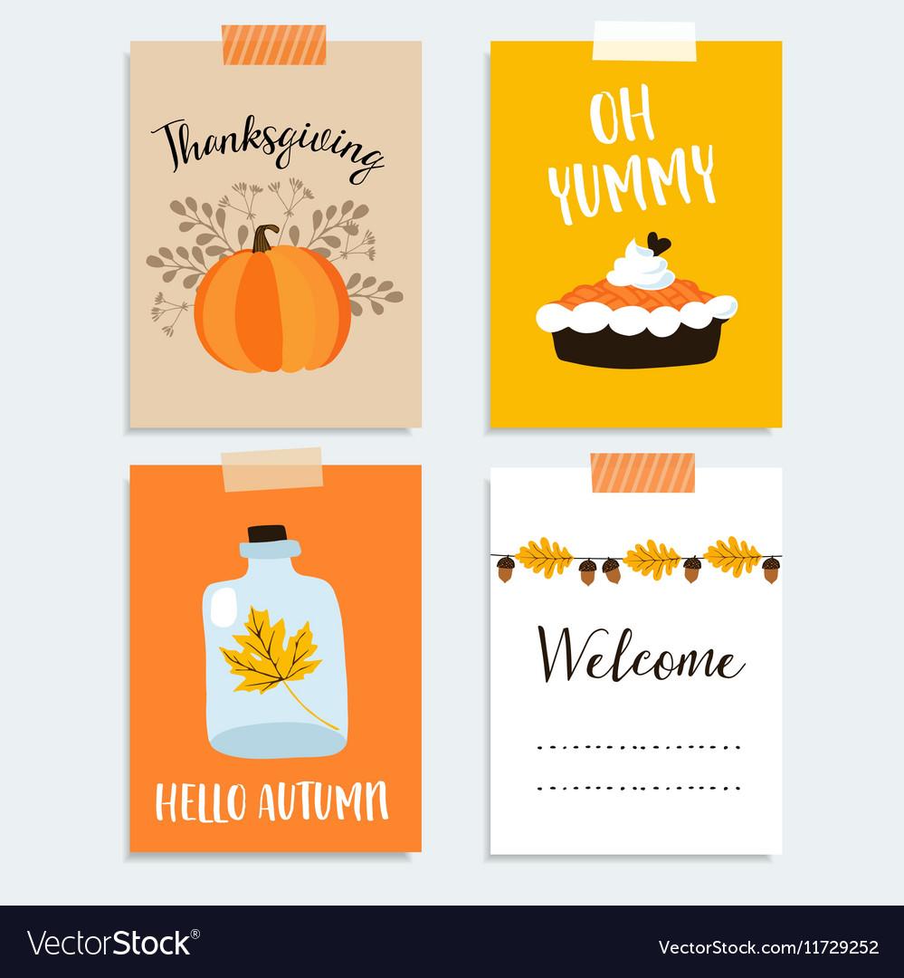 Set of cute hand drawn thanksgiving cards Autumn