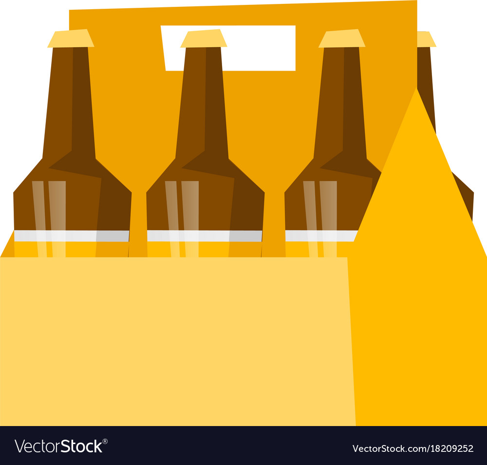 Six Pack With Bottles Of Beer Cartoon Royalty Free Vector