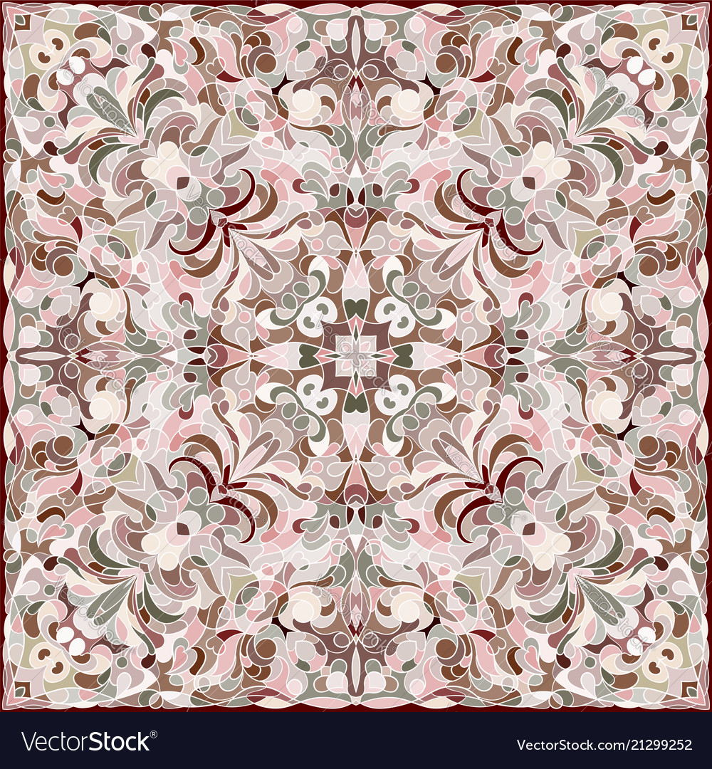 Squared ornamental damask pattern