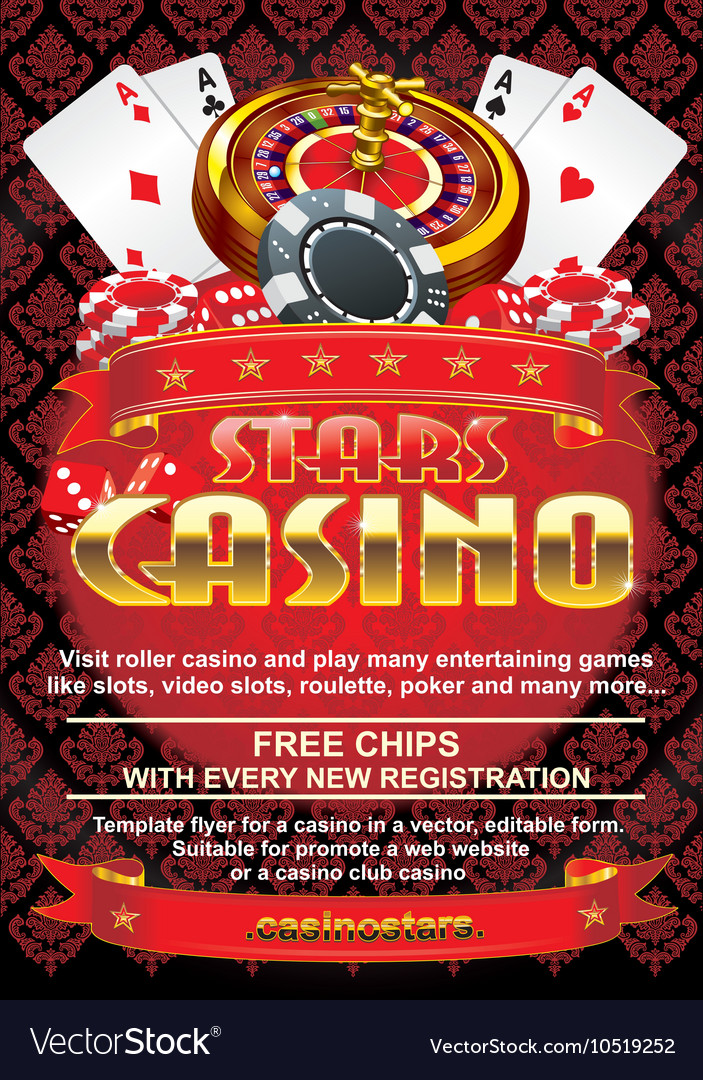Template flyer for a casino on a red background