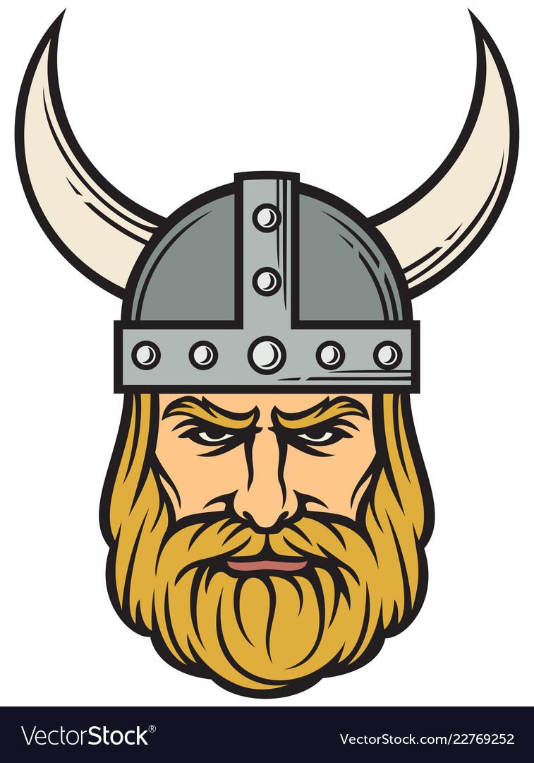 Viking head - mascot cartoon with horned helmet