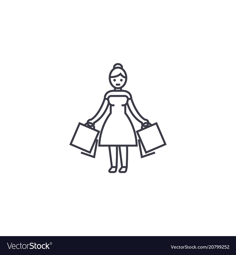 Woman shopping line icon sign