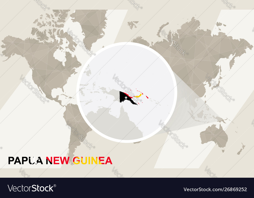 Zoom on papua new guinea map and flag world map