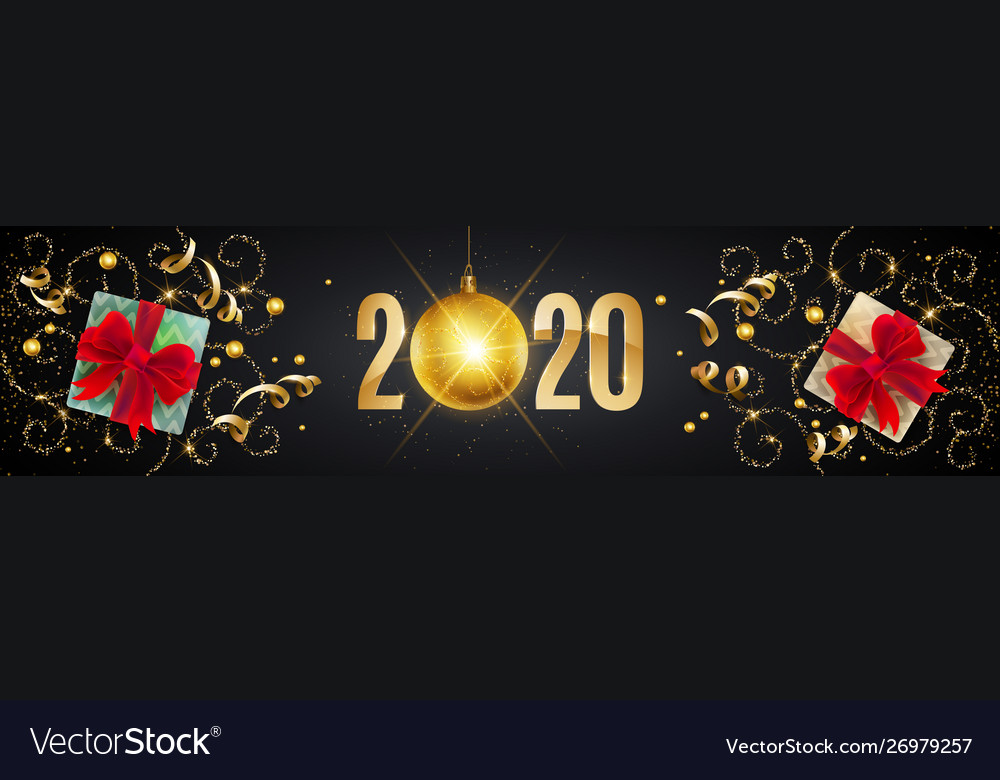 2020 happy new year gold greeting card with