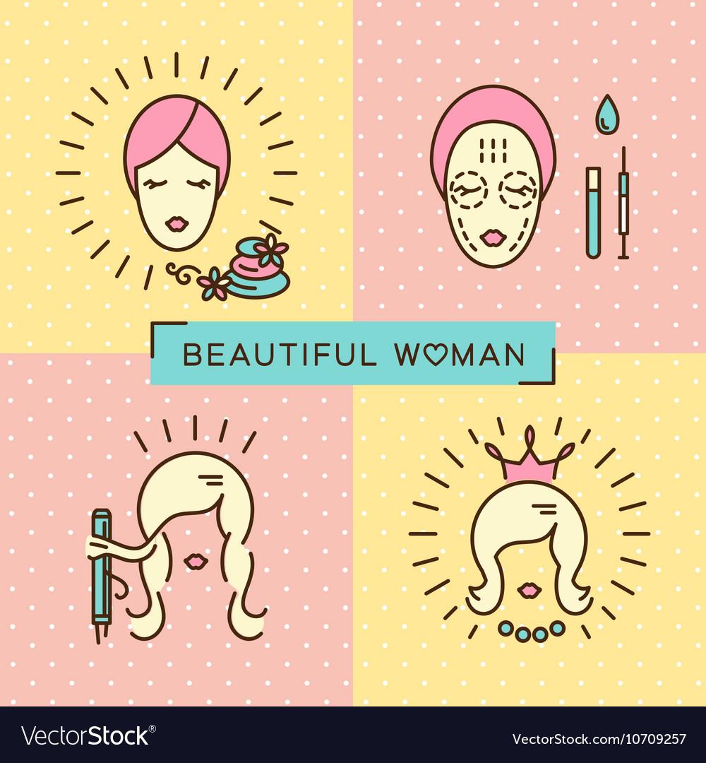 Beauty banner Beautiful woman set line icon art vector image