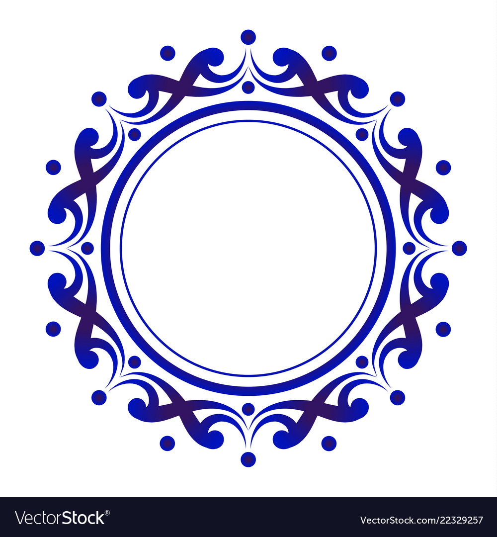 Blue and white floral decorative round