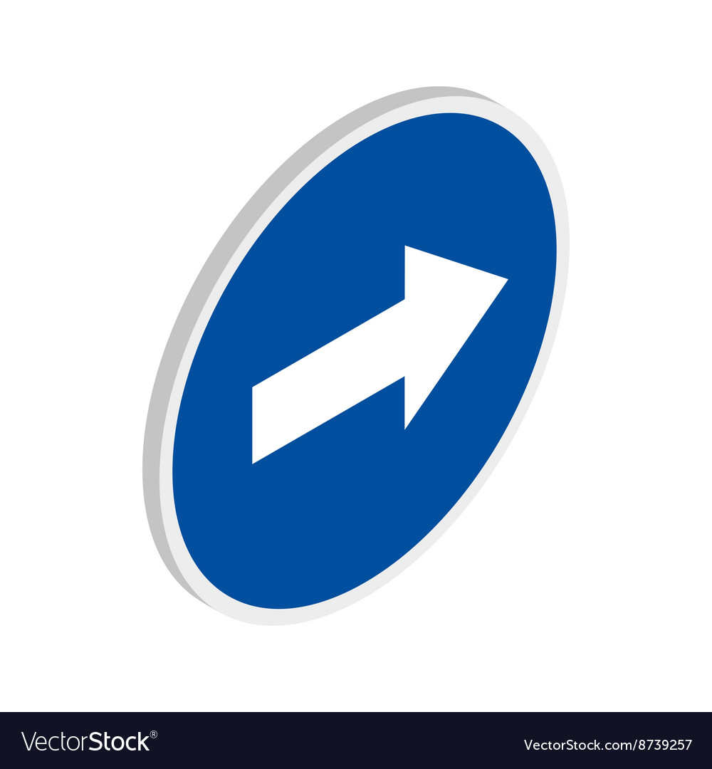 Blue road sign pointing right icon vector image