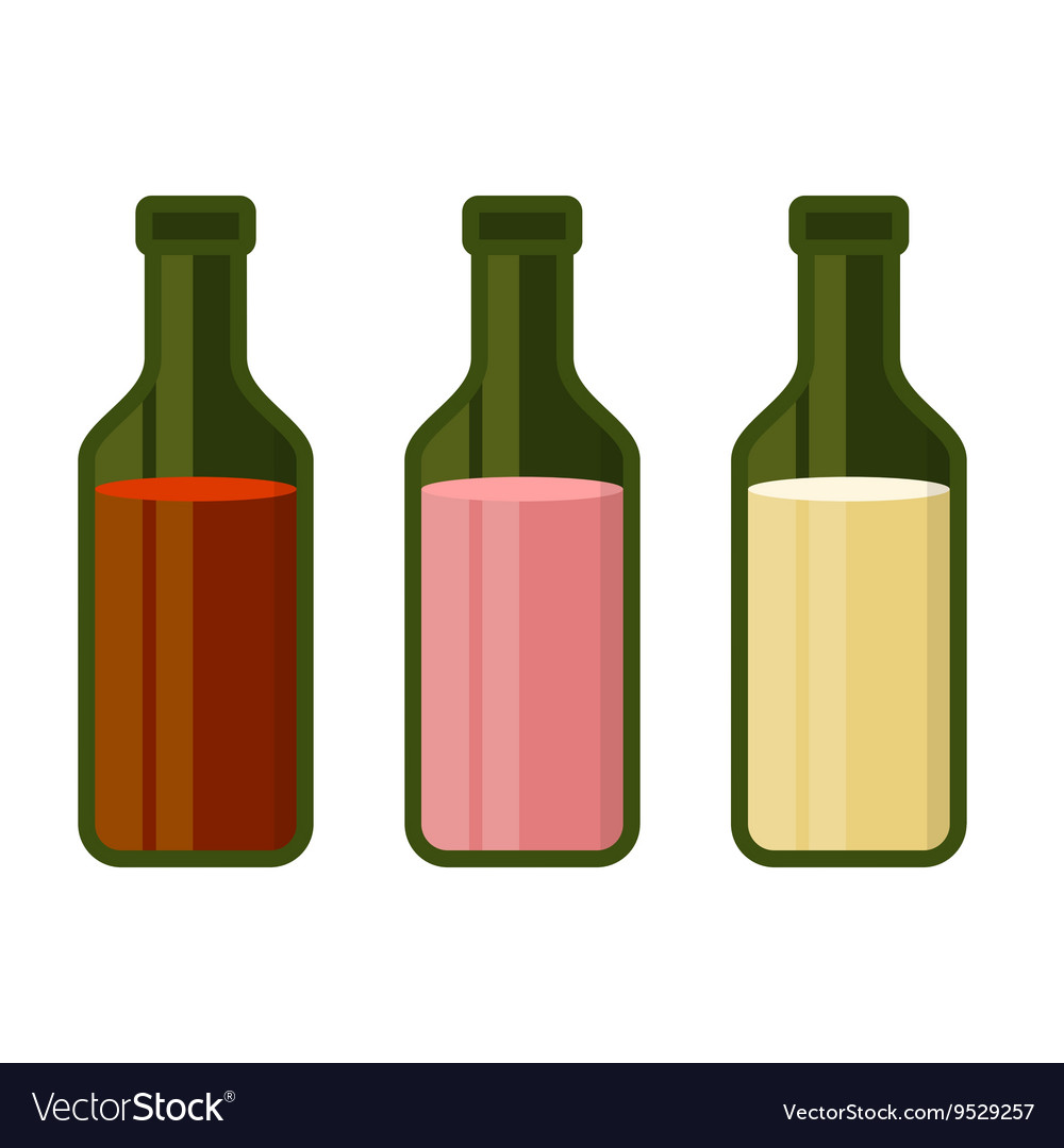 Colors Wine Bottles Set on White Background