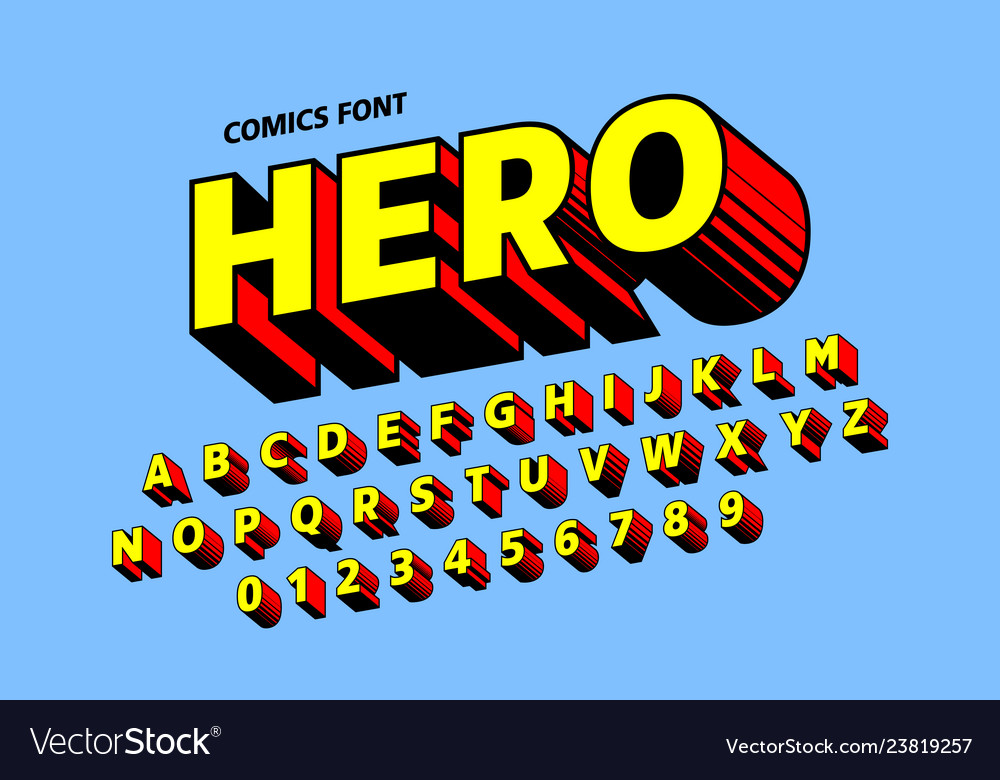 Comics style font design alphabet letters and
