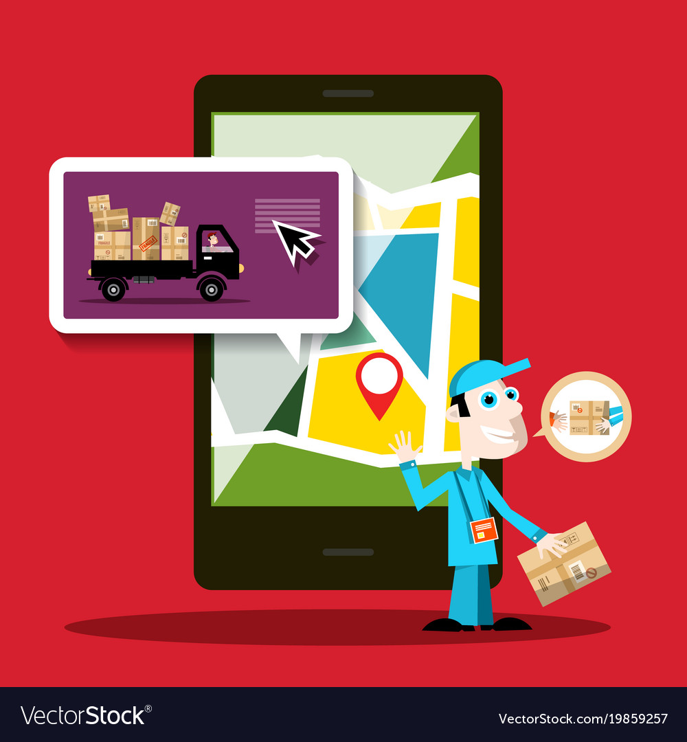 Delivery service mobile phone application design vector image