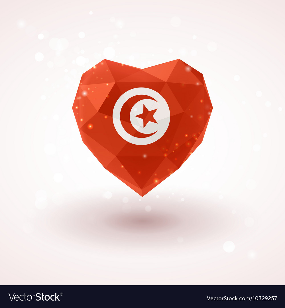 Flag Of Tunisia In Shape Diamond Glass Heart Vector Image