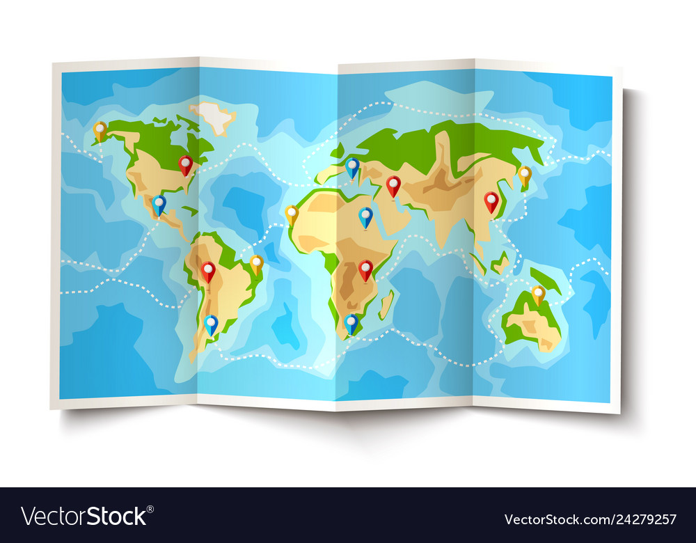 Folded world map destination pointer pins