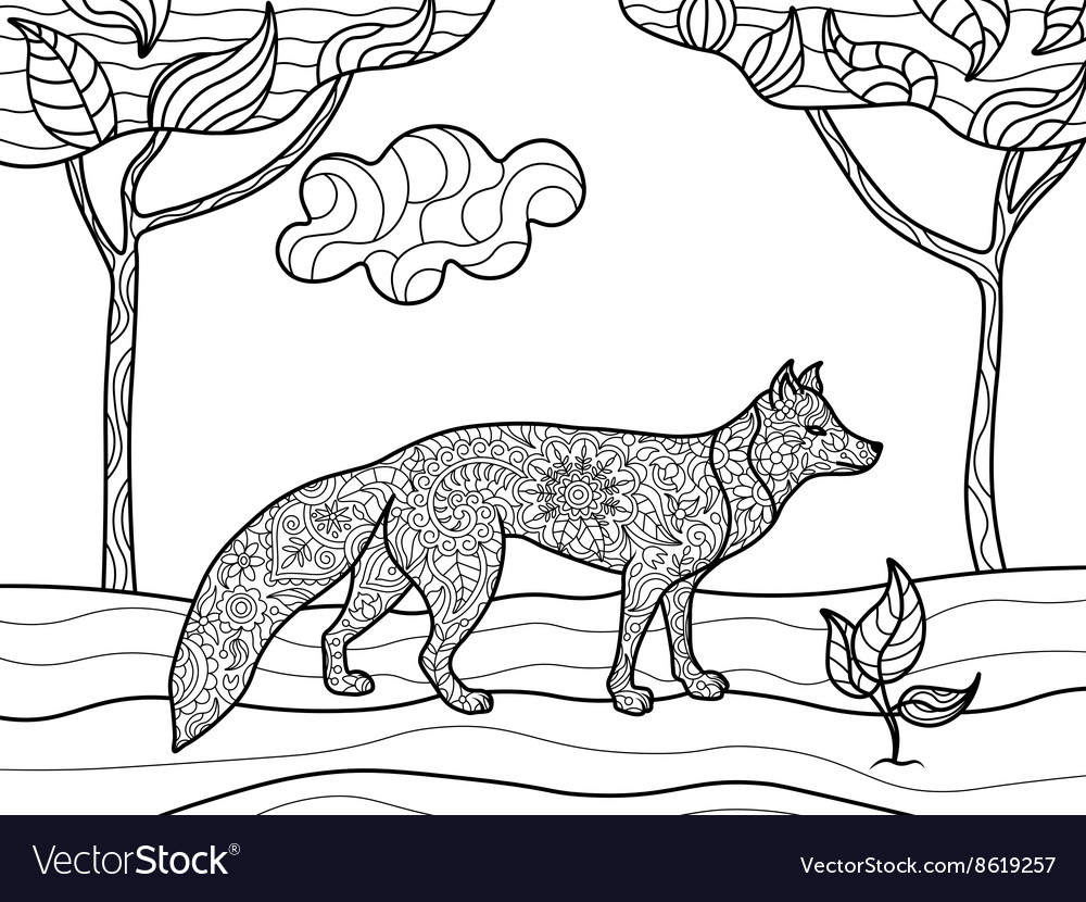 Fox coloring book for adults