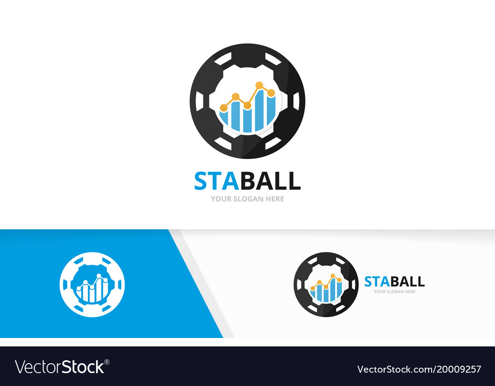 Graph and soccer logo combination diagram vector image
