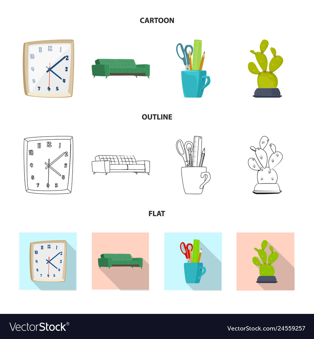 Isolated object of furniture and work sign set of