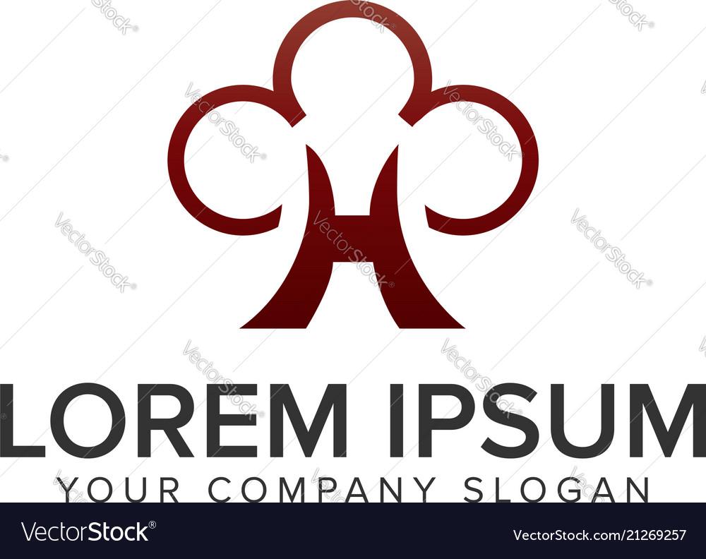 Letter h tree cloud logo design concept template