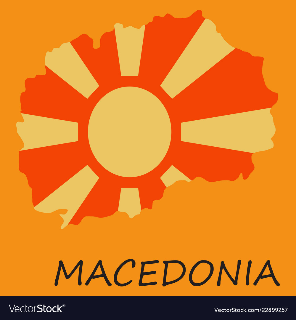 Map and flag of macedonia with color background