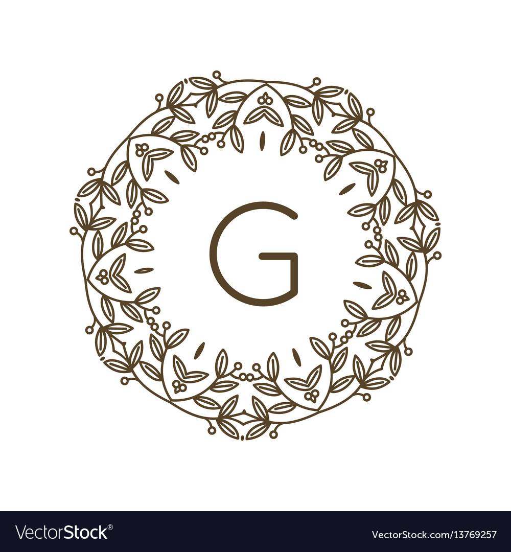 Monogram g logo and text badge emblem line art