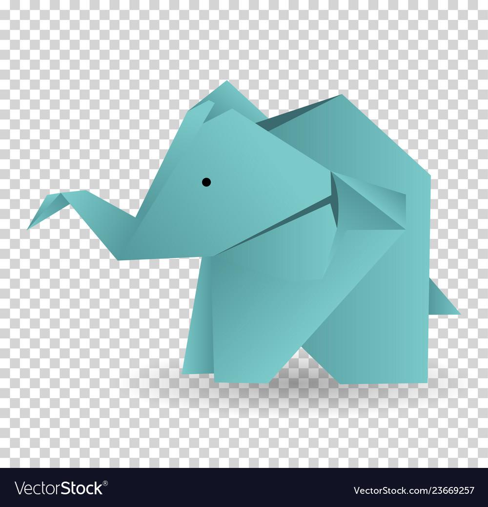 Origami elephant icon cartoon of