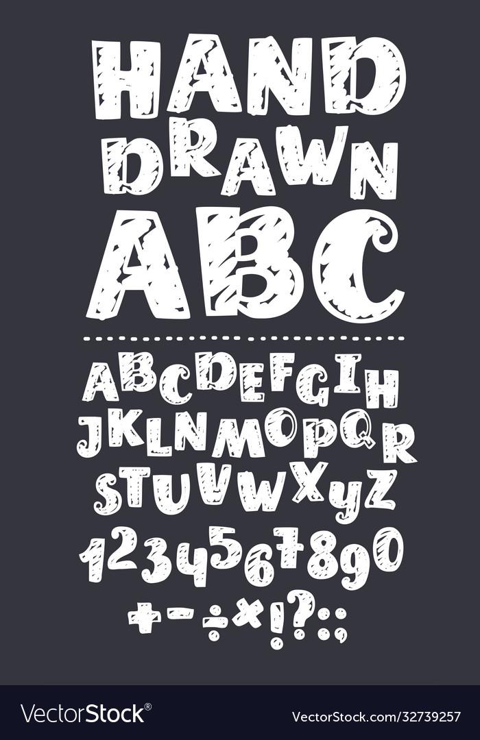 Sans serif chalk roman alphabet with only caps