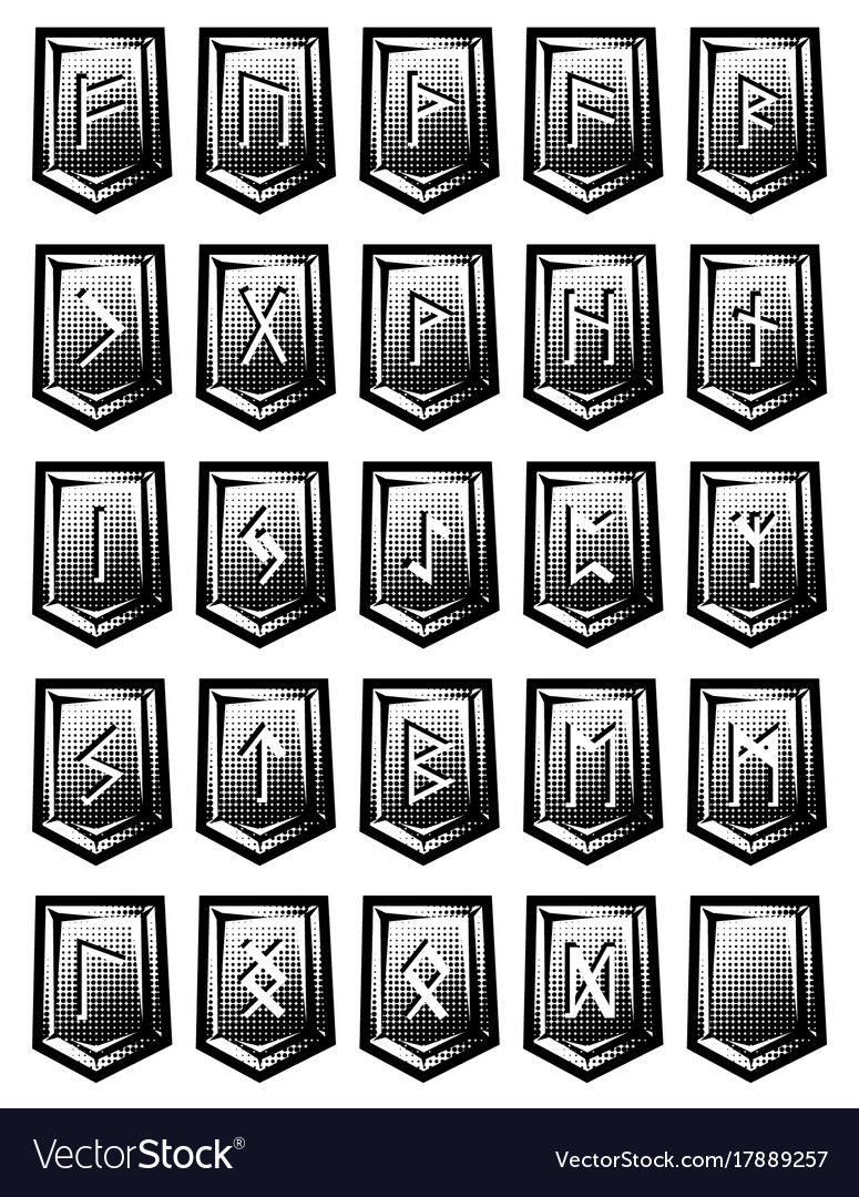 Set of character from runic alphabet on