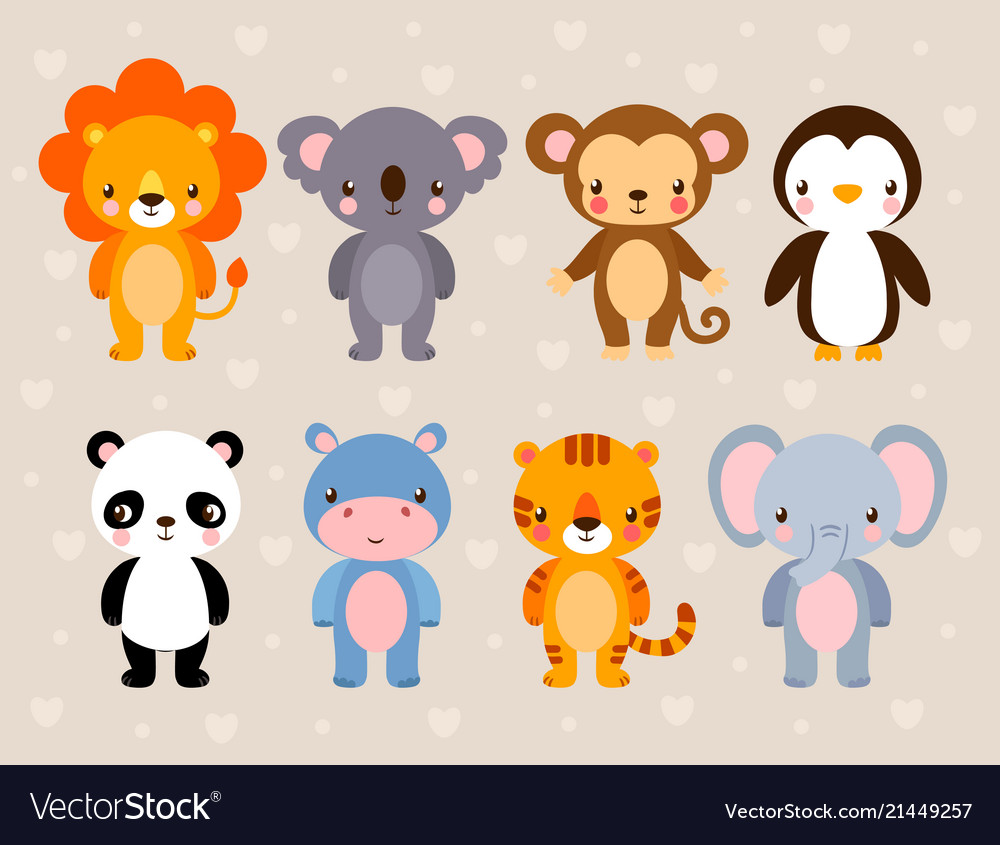 Set with cute animals