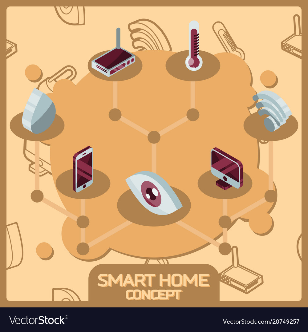 Smart home color concept isometric icons
