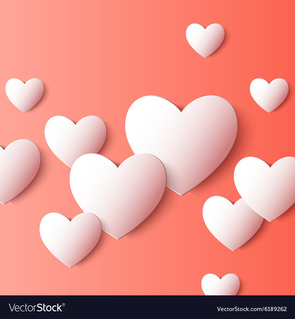Abstract 3d paper heart shapes background