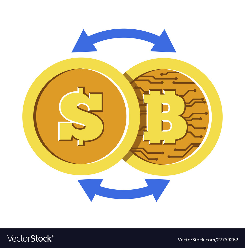 Bitcoin and dollar coin with cryptocurrency