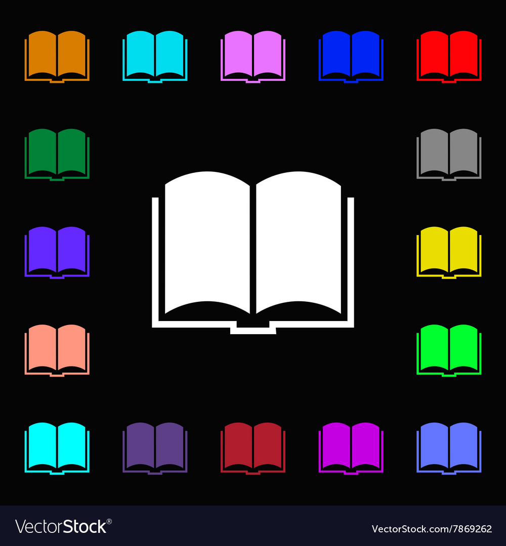 Book icon sign Lots of colorful symbols for your
