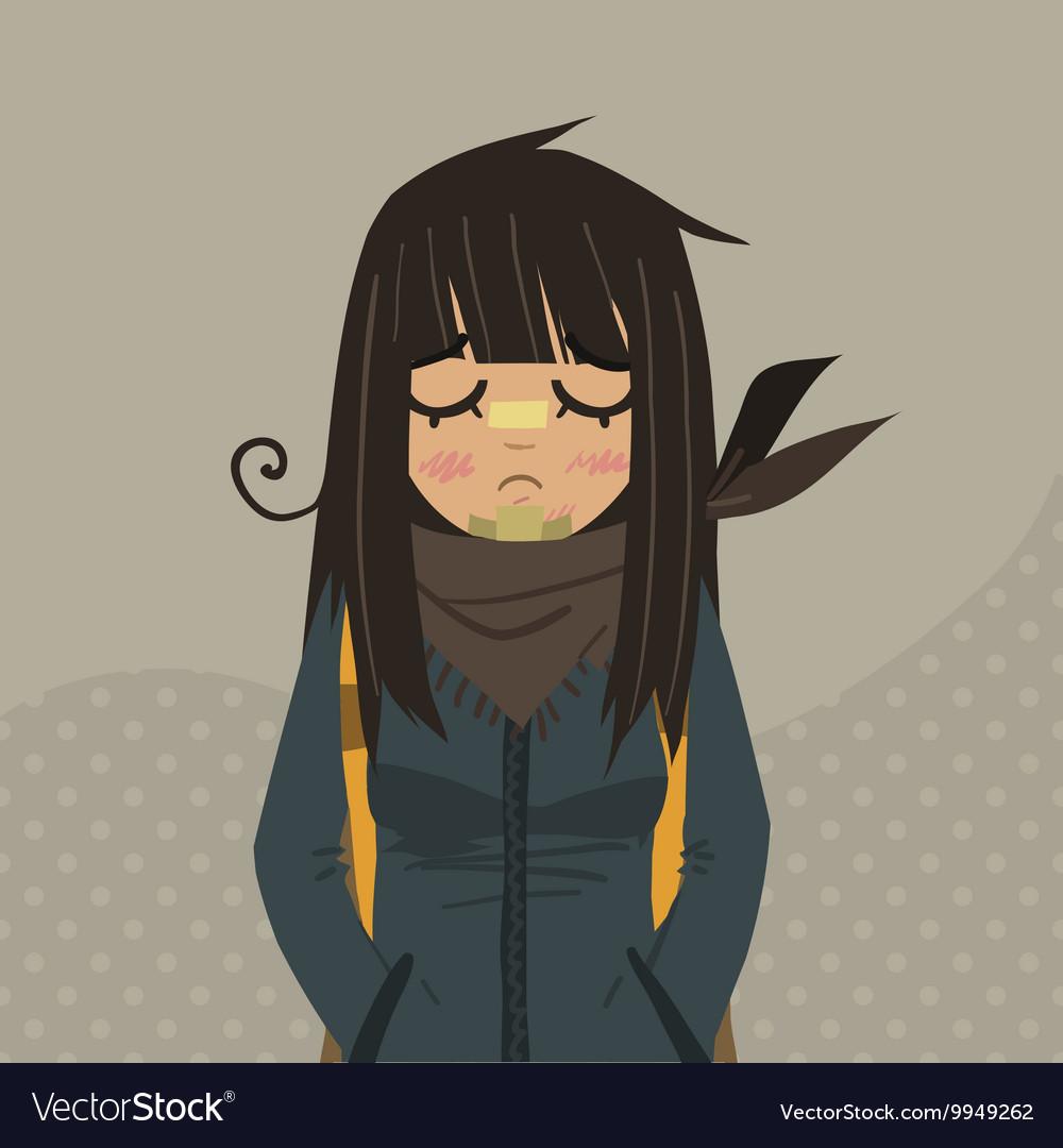 Cartoon sad girl mascot