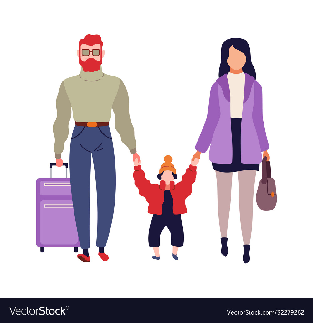 Family in airport man woman and child