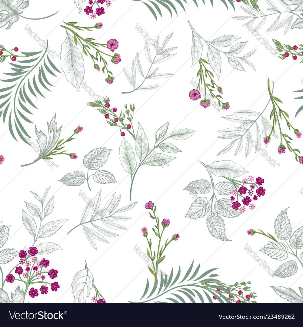 Floral seamless pattern garden flower bouquet