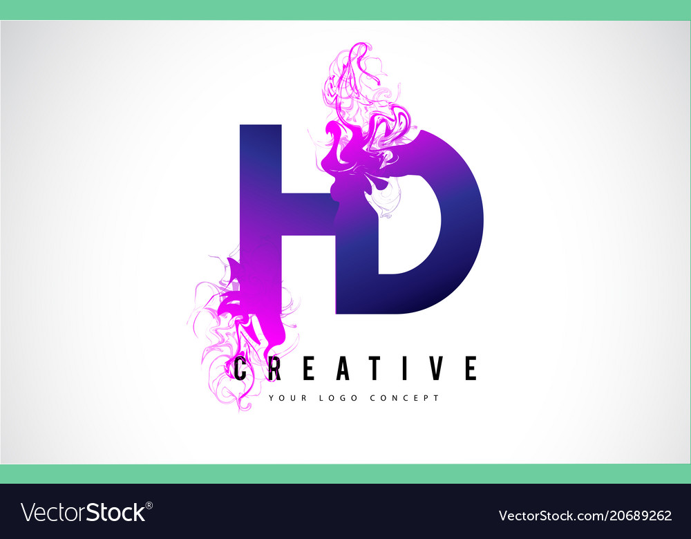 hd h d purple letter logo design with liquid vector image