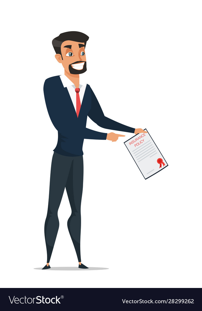 Insurance agent with document cartoon Royalty Free Vector