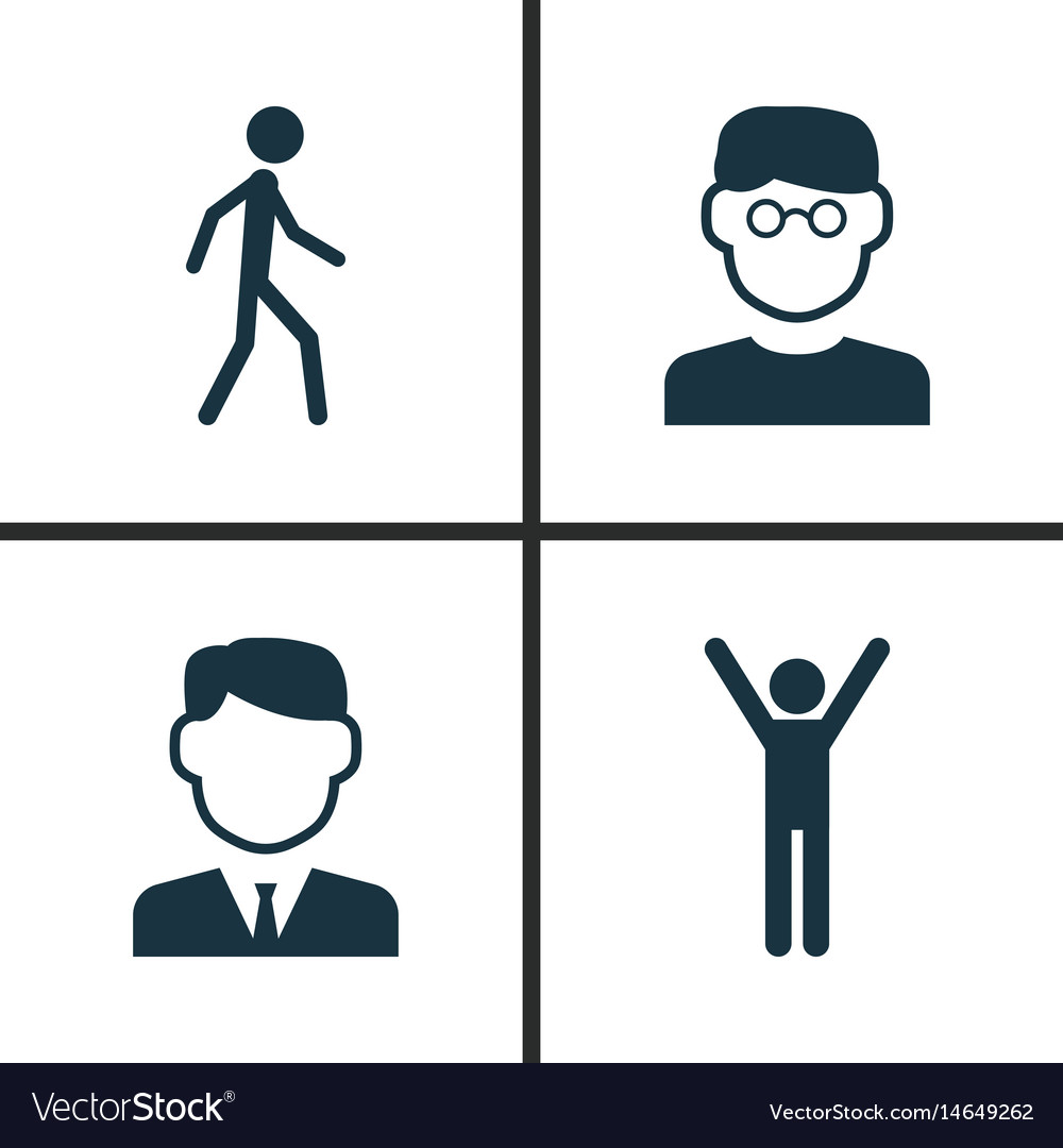 Person icons set collection of work man