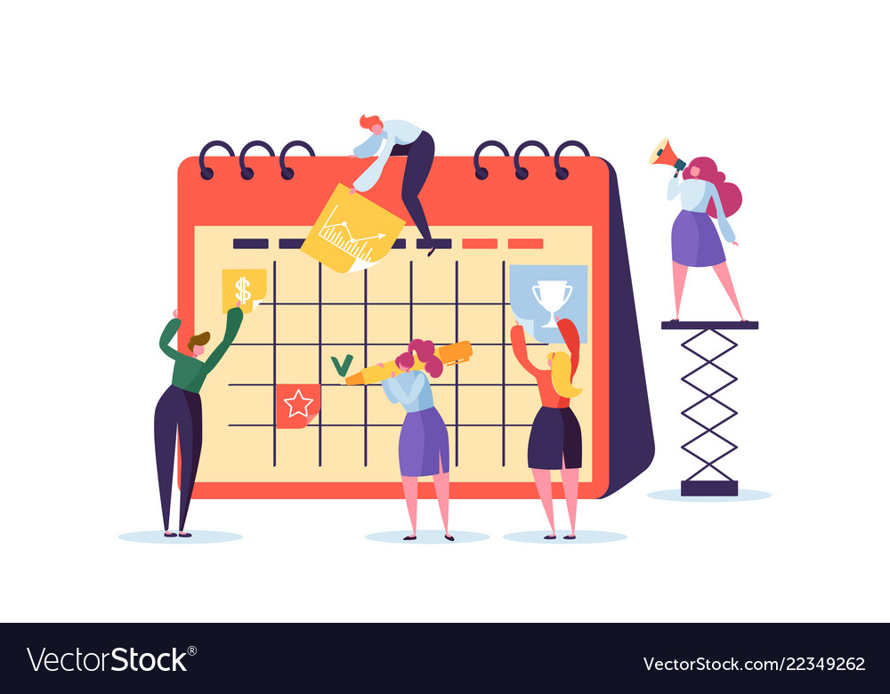Planning schedule concept with business characters