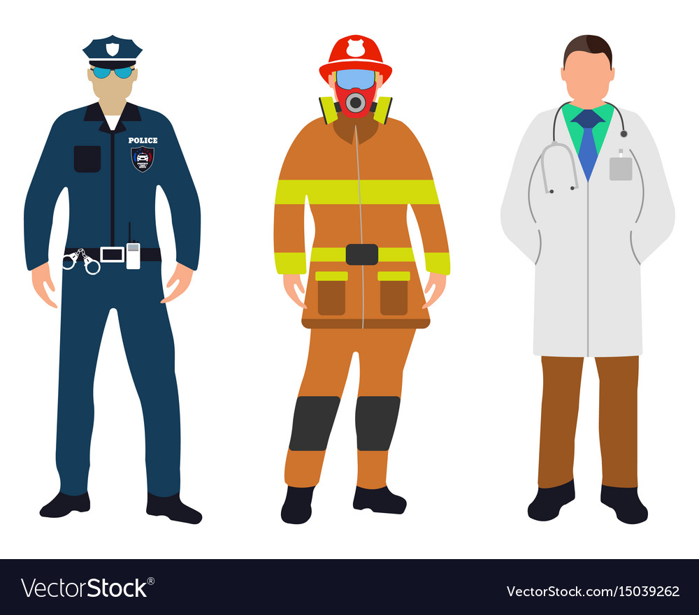 Policeman doctor fireman flat icons service 911 vector
