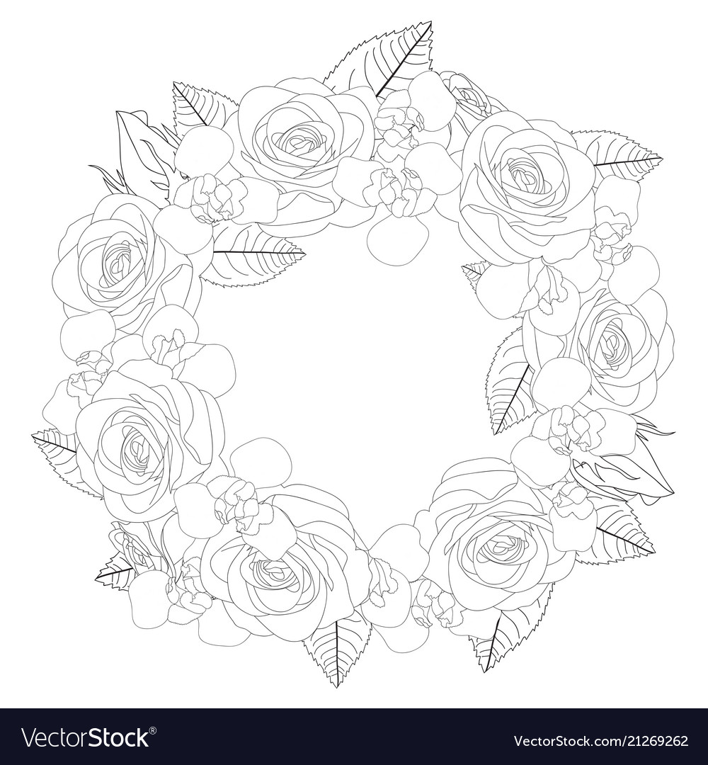 Rose and iris flower wreath outline
