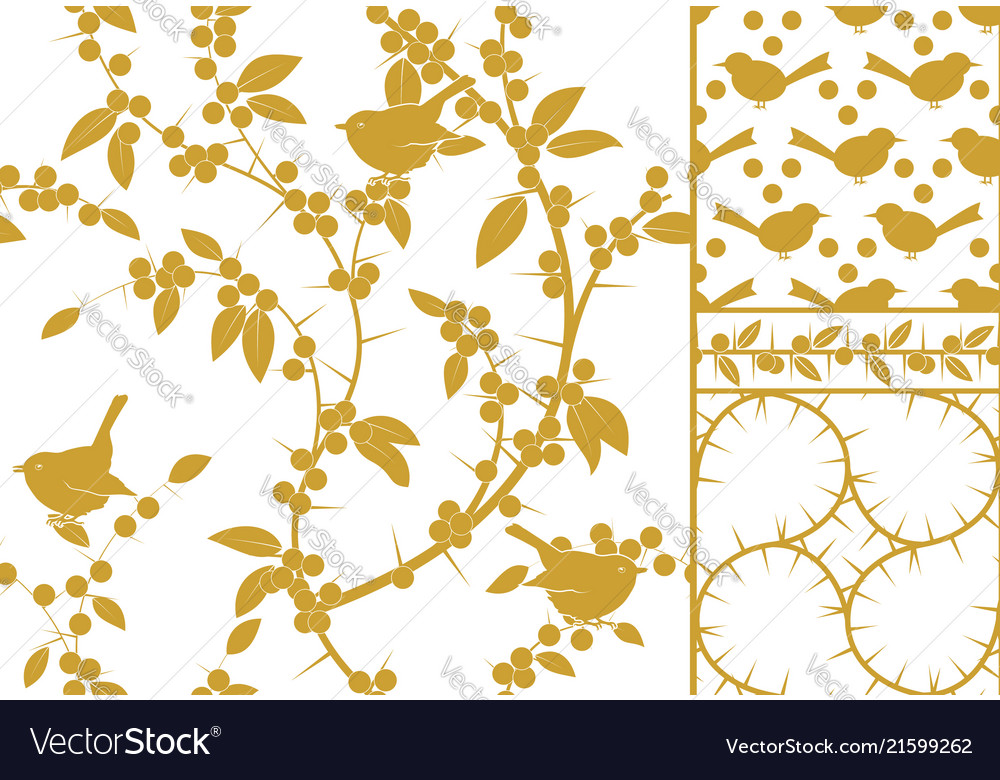 Sloe and birds a set of three golden seamless