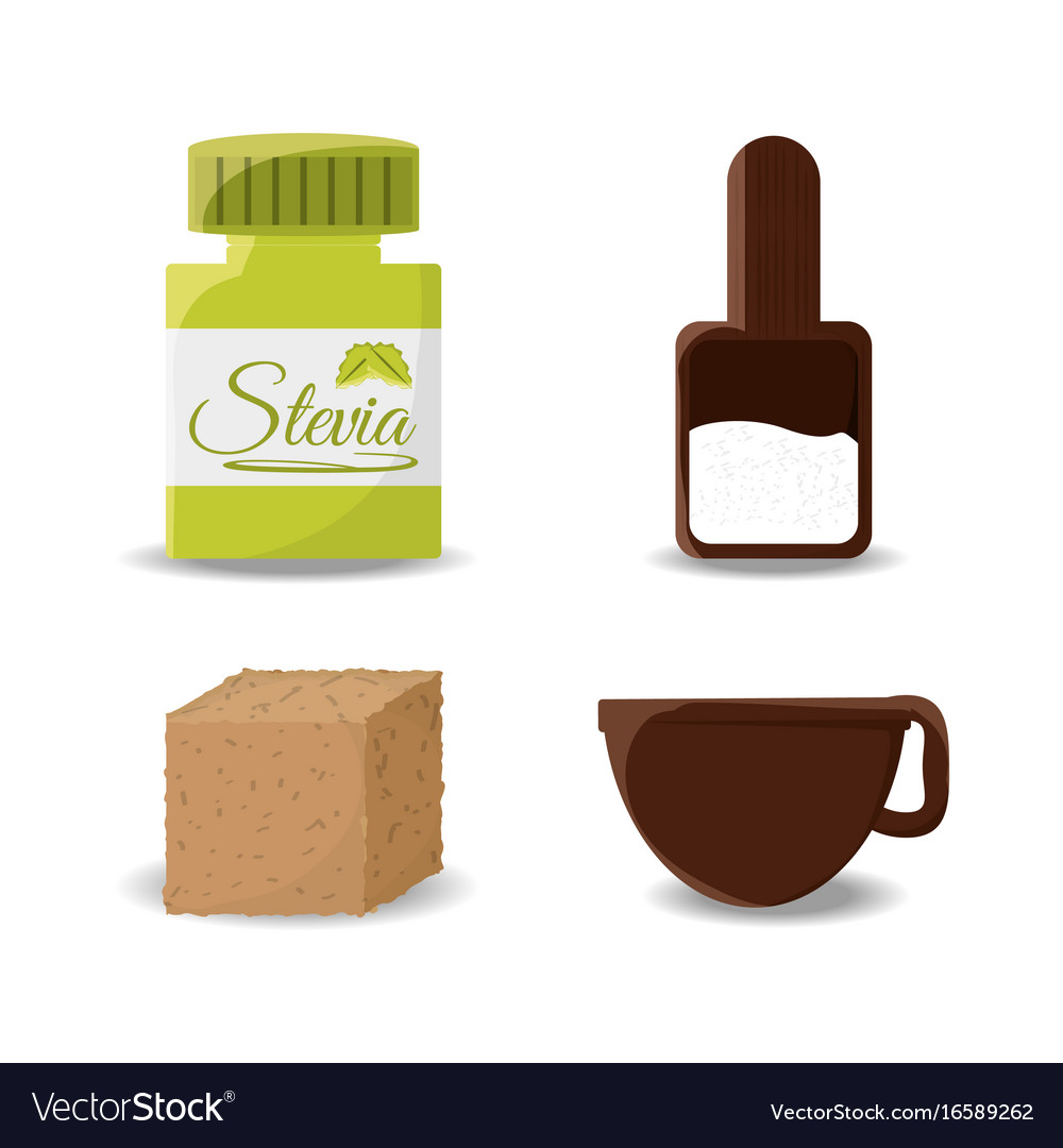 Stevia natural sweetener leaves and differents
