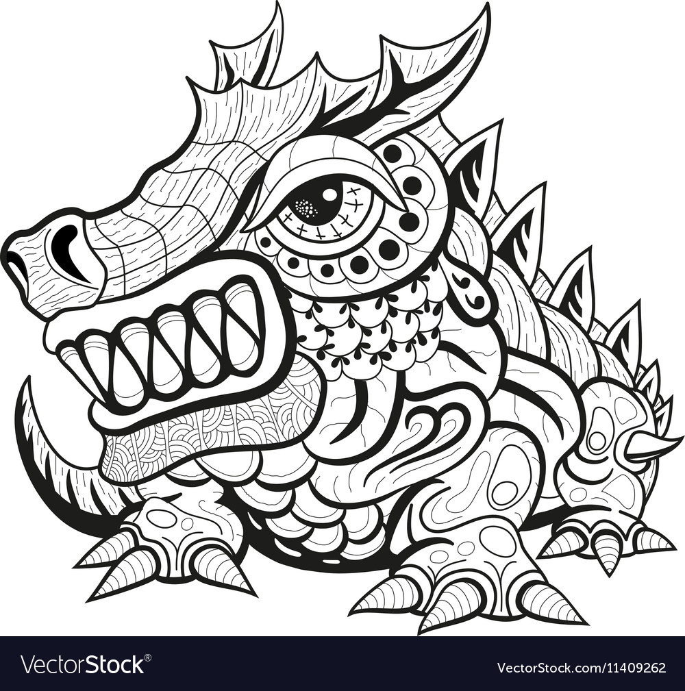 06748ee1a07d5 Zentangle tribal dragon designs Royalty Free Vector Image