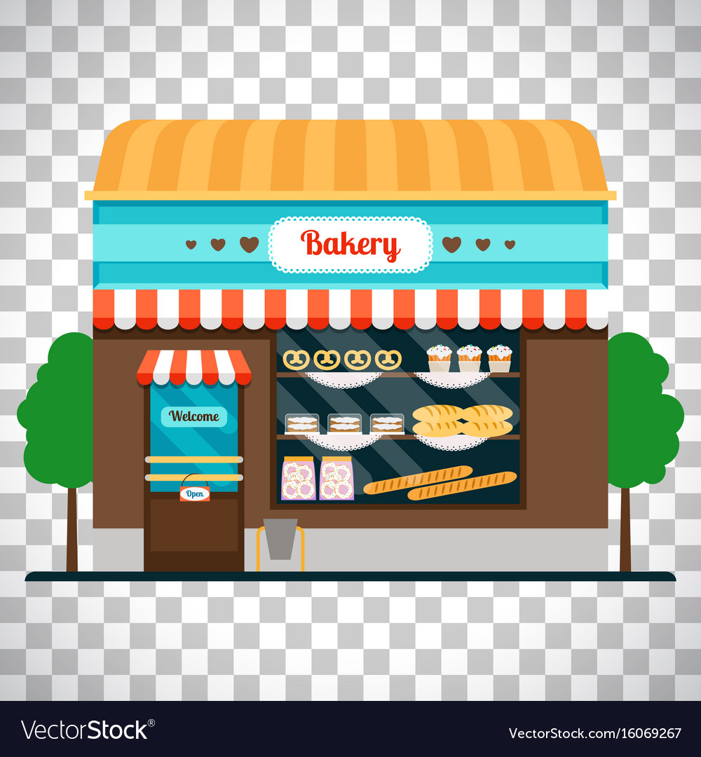 Bakery shop front on transparent background vector image