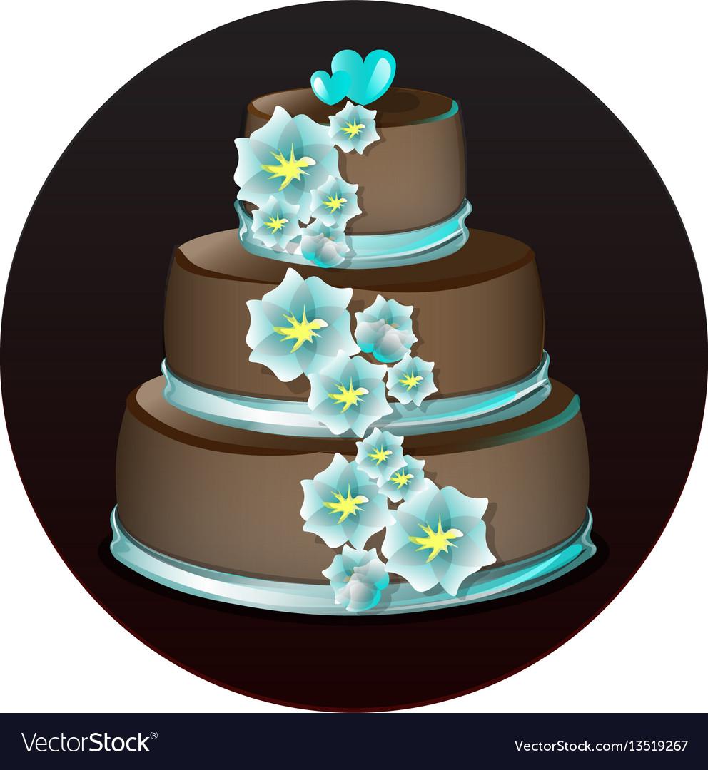 Big delicious chocolate cake vector image