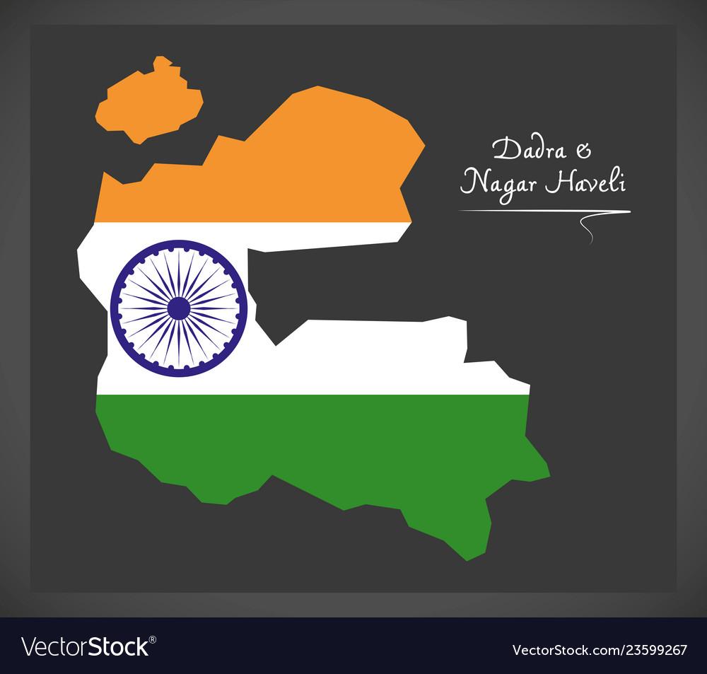 Dadra and nagar haveli map with indian national