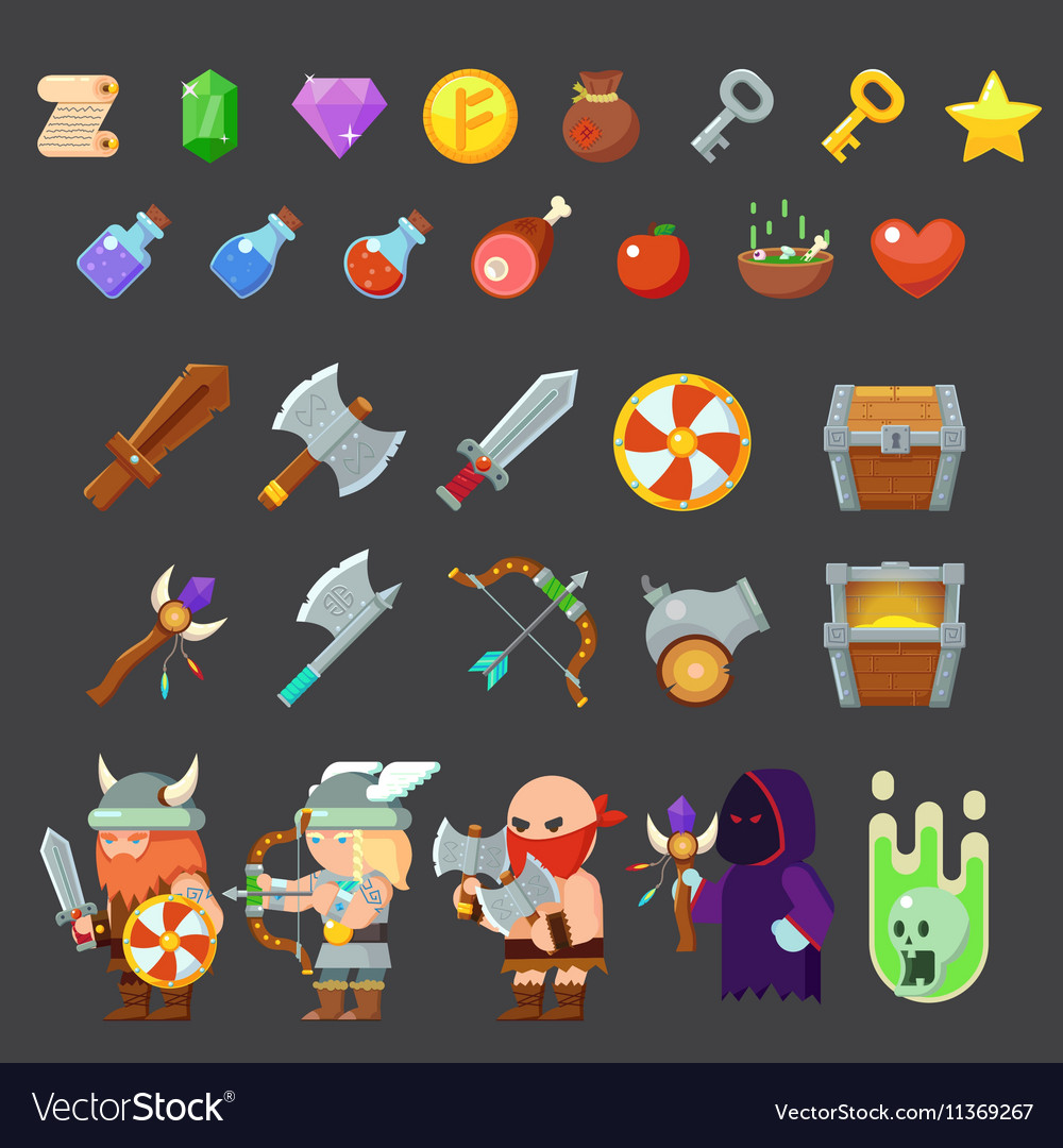 game icons medieval viking inventory heroes vector image