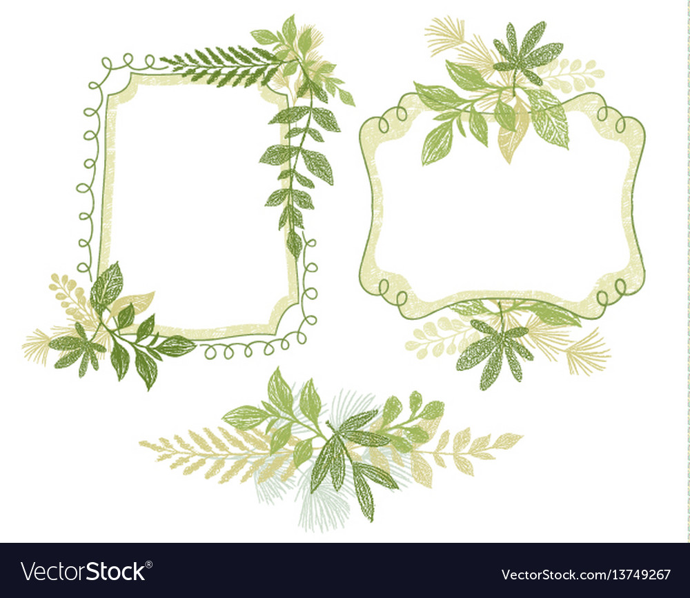 Green doodle flower hand drawn frame vector image