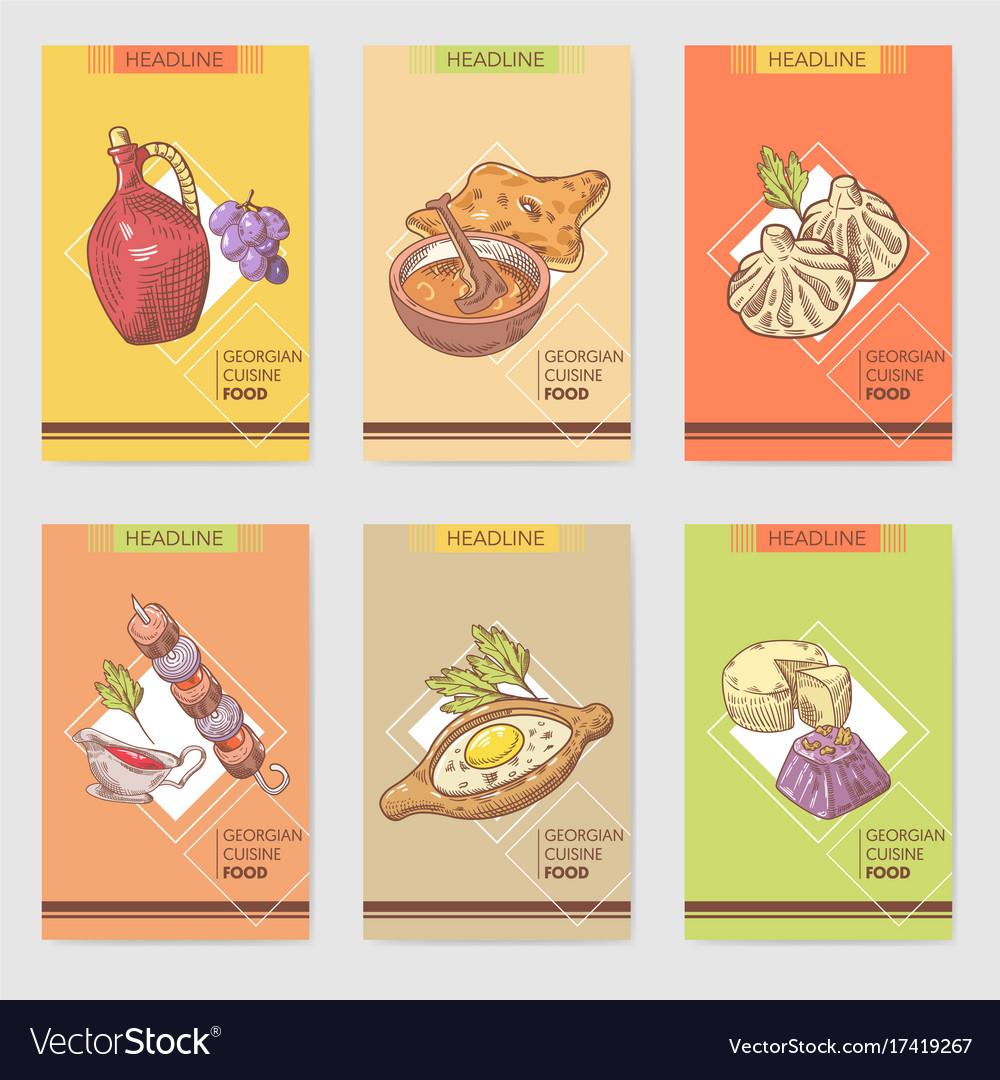 Hand Drawn Georgian Food Brochure Template Vector Image